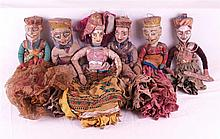 6 rod- glovepuppets - Indonesia, Wayang dolls, wood carved and painted poly