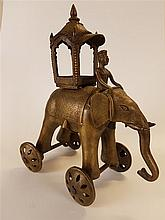 Temple Toys / Elephant - India, 19. Bronze alloy ?,  mahood riding elephant