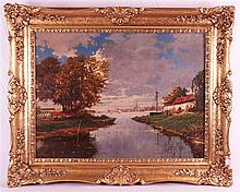 Unknown - ''Am Niederrhein'', river landscape with houses, boats and city v
