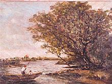Unbekannt - Flusslandschaft mit Darstellung zweier Männer im Boot, unten re