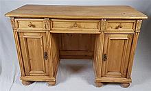 Rustikaler Schreibtisch - Holz, Rechteckplatte mit 3 Schubladen und 2 Seite