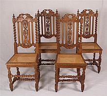 Satz von vier Stühlen - durchbrochene Rückenlehne mit Weinblattdekor,seitli