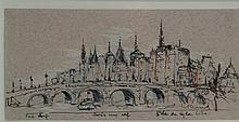 Willand, Detlef (born 1935 Heldenheim) - ''Pont Neuf Paris at eleven L'Ile