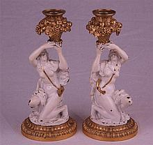 Pair of plastic elaborated candelabras - bronze alloy,  around 1900, gilded