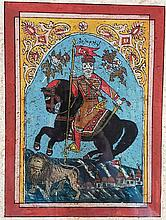 Under glass painting - orient, probably 19th century, depiction of a rider
