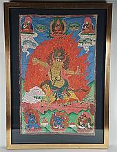 Thangka of the Digpa Tsara Ru-chan srin (also Dig-ra Ru chan-srin) - Tibet