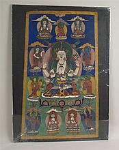 Thangka of the Bodhisattva Chaturbhuja Avalokiteshvara - Nepal, painting in