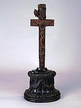 Reliquary cross -19th century, beech wood with bone parts, the carved cruci