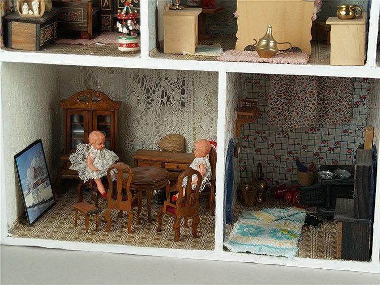 Puppenstube 1950er jahre holz 7 wohn u schlafzimmer m for Schlafzimmer holz