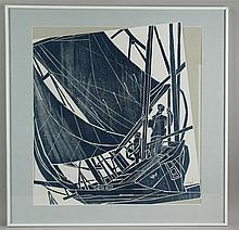 Willand, Detlef (*1935 Heldenheim) - Das Segelboot, Farbholzschnitt in Blau