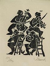 Willand, Detlef (*1935 Heldenheim) - Das Quartett, Farbholzschnitt in Schwa