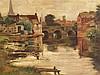 Goodal(l),F.- Stimmungsvolle Flusslandschaft mit Steinbrücke,industriellen Gebäuden und Lagerhäusern,Öl auf Leinwand,links unten signiert,ca.81x95cm,Farbschicht mit zwei Fehlstellen,massiver goldener Stuck-Prunkrahmen mit Akanthus-und