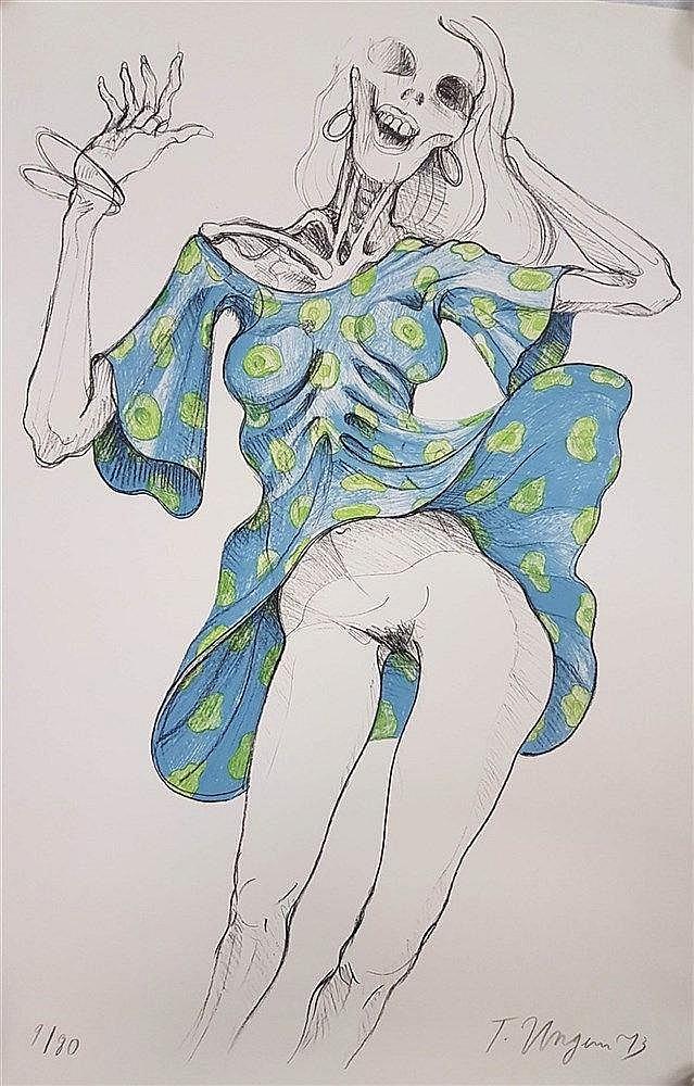 Ungerer, Tomi (*1931 Straßburg) - ''Der blaue Rock'', ca.92x64cm, Offset-Lithografie, handsigniert und 73 datiert,num.''9/80'',Blatt liegt lose