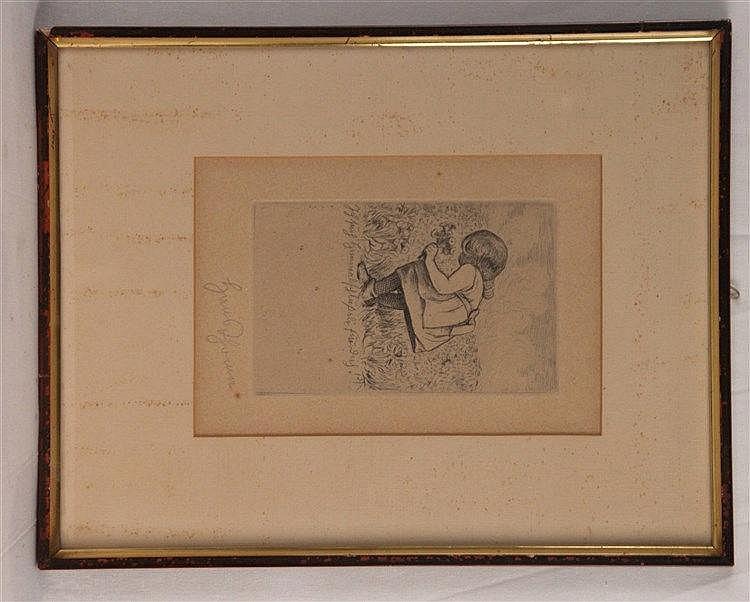 Thoma,Hans (1839 Oberlehen-1924 Karlsruhe) - ''Ich such Himmelsschlüßeli für dich'',Radierung,in der Platte monogrammiert,unterhalb mit Bleistift signiert, ca.13x8,5cm,in Passepartout montiert), gerahmt (43x36,5cm),Blatt lt. gedunkelt,punktuell