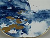 Porzellanplatte - Meissen Schwertermarke'' verso bez.''Trauminsel'', 1993 datiert, Seelandschaft mit goldenen Seerosenblätter, Aquatinta mit Goldstaffage,D ca.30,5 cm
