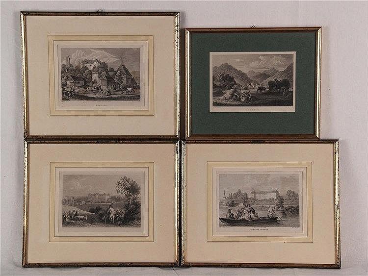 Konvolut Stiche nach Ludwig Richter - 4-tlg, 3x bezeichnet ''Ilefeld'', ''Aufsees'', ''Schloss Theres'',teilweise stockfleckig, PP-Ausschnitt ca. 11,5 x 17 - 12 x 17 cm, im PP unter Glas gerahmt
