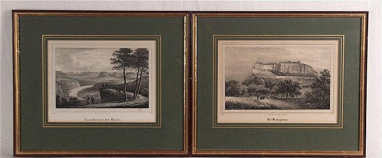 Konvolut Königsstein - 2-tlg: ''Der Königstein''/''Aussicht von der Bastei'', gez.und lith. von C.W.Arldt, PP-Ausschnitt ca. 16x22 cm/ca.17x24 cm, im PP unter Glas gerahmt