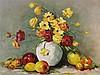 Monogrammist - Stillleben mit bunten Blumen in Vase und Obst,Öl auf Leinwand,links unten monogrammiert und datiert 1981,ca.75x55,5cm,schlichte Holzleiste