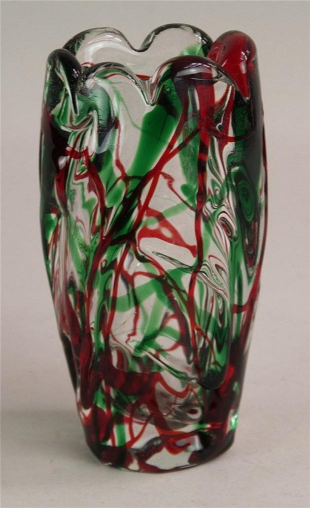 Vase - Muranoglas transparent mit rot/ grünem Dekor,H.ca.22 cm