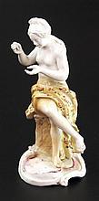Porzellanfigur - Frankenthal 18.Jh.,aus der Serie der Künste und Wissenschaften,nach einem Modell von Friedrich Lück,farbig staffiert,restauriert,bestossen,H.ca.12, 2 cm,im Boden unterglasurblaue,bekrönte, ligierte CT-Marke