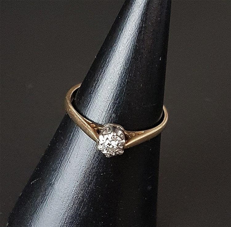 Diamantring - Gelb-/Weißgold,sternfömiger Ringkopf besetzt mit 1 kleinen Diamanten im Brillantschliff von ca.0,06ct.,Dm.ca.16,5mm