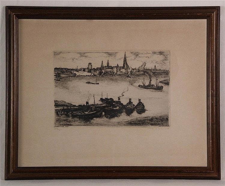 ''Antwerpen von J. Creytens'' - Radierung,gestochen von Roger de Coninck,num. 337/350, datiert 1950, Plattenrand ca. 25,5x39,5 cm, unter Glas gerahmt
