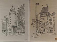 Claus, Wolfgang (*1933 Berlin) - Zwei Frankfurt/M.-Ansichten: ''Eschenheimer Tor'' und ''Kuhhirtenturm'', Vorlagen für die Serie ''Frankfurter Grafik-Drucke'', Tuschfeder auf Papier, 1976 datiert, handsigniert mit Bleistift, ca.70x50cm, einzeln