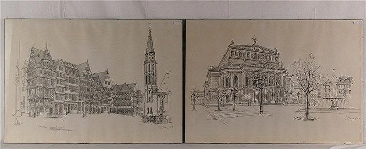 Claus, Wolfgang (*1933 Berlin)  - Zwei Frankfurt/M.-Ansichten: ''Römerplatz, Brunnen und Alte Nikolaikirche'' und ''Alte Oper'', Tuschfeder auf Papier, 1984 datiert, handsigniert mit Bleistift, ca.56x79cm, einzeln unter Glas montiert
