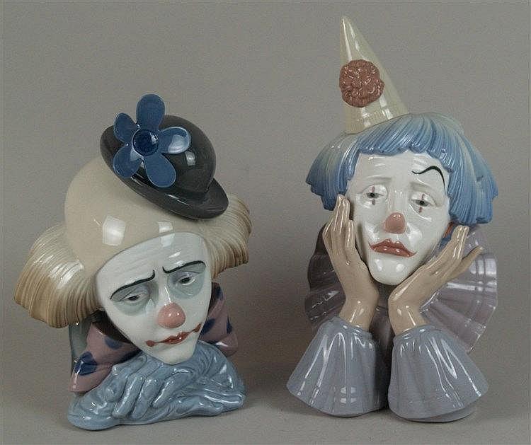 Zwei Porzellan-Figuren ''Clown-Büsten'' - Lladro, Spanien, 2. Hälfte 20. Jh., polychrom bemalt, H.ca.26/30cm.