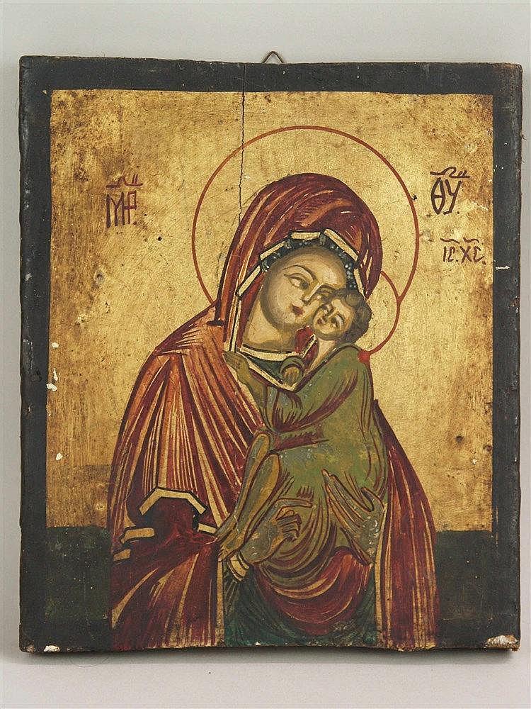 Ikone - halbfigurige Darstellung der Gottesmutter Donskaja mit Jesuskind, auf dem Goldgrund griechische Abkürzungen für Muttergottes und Jesus Christus,Temperamalerei auf Kreidegrund auf Holz,ca.23x19,5cm, Altersspuren