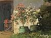 Nogradi,Alexander (1886-?)  - Blühende Gartenlandschaft mit Bauernhäusern und junger Bäuerin beim Blumengießen,Öl auf Leinwand,rechts unten signiert,ca.60x80cm,mit Rahmung