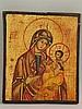 Ikone - Gottesmutter mit Kind, Typus: Hodegetria von Smolensk,Temperamalerei auf Kreidegrund auf Holz,ca.25x21cm,rückseitig angenagelte Sponki, Altersspuren