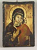 Ikone - halbfigurige Darstellung der Gottesmutter Fedorovskaya mit Jesuskind, auf dem Goldgrund griechische Abkürzungen für Muttergottes und Jesus Christus,Temperamalerei auf Kreidegrund auf Holz,ca.20x15cm, Altersspuren