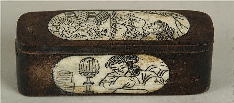Holzkästchen mit Schiebedeckel - China,längliche Form mit abgerundeten Ecken,ovale Beineinlagen mit figürlichen Darstellungen,geritzt und geschwärzt,H/L. ca.3,5/10 cm