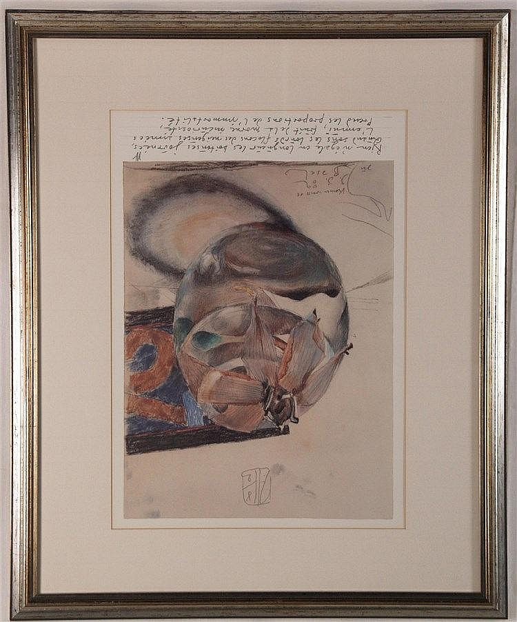 Janssen, Horst - ''Blüte im Glas (keiner weiss es)'',mit Zeilen aus dem Gedicht ''Spleen : J'ai plus de souvenirs que si j'avais mille ans'' von Charles Baudelaire,Entwurf für die Art Basel, Farboffset,1982,stempelsigniert,PP-Aussc hnitt:ca.54 x