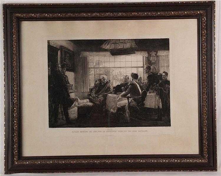 ''1815. Blücher empfängt bei Genappes die erbeuteten Orden, Hut und Degen Napoleons'' -Lithographie,gestochen von L. Arndt, Plattenrand ca. 54x69 cm, unter Glas gerahmt