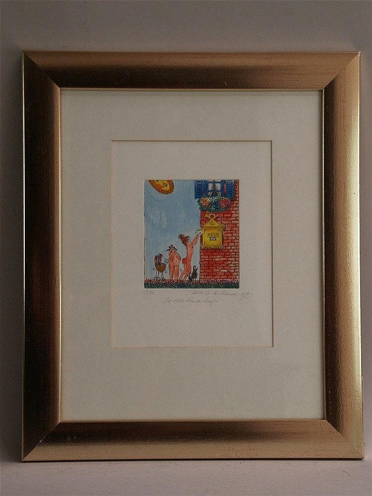Leutheuser, Walter - ''Der erste Liebesbrief'', Radierung, handkoloriert, num.''18/80'', signiert, 1984 datiert, ca.21,5x16,5cm in PP unter Glas gerahmt