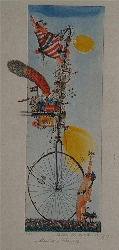 Leutheuser,Walter - ''Attenzione Polizia'', Radierung,num.''ea'', handkoloriert, signiert, 1989 datiert,ca.50x20cm,Rahmung