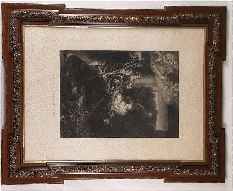 ''Die Nacht nach Correggio'' - Kupferstich gestochen von Gustav Eilers, Druck d. Kupferdruckerei der Königl. Kunst-Academie zu Düsseldorf (Schwan&Streifensand;), stockfleckig, Plattenrand ca. 84x63 cm, unter Glas im üppigen Rahmen