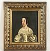 Anonym 19.Jh.- Portrait einer Hofdame im weißen Kleid, Öl auf Leinwand,Craquelé, ca.27x22,5 cm, mit Rahmung