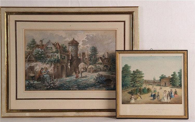 Zwei Aquarelle 19.Jh. - Ortsansichten,1x in Blei beschriftet ''Die Elisenhalle in Obersalzbrunn, den 29. July 1863'' ,ca.13,5x17 cm und 17,5x26,5 cm,eins im PP, einzeln unter Glas gerahmt