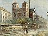 Burnett - Pariser Straßenszene,mit Blick auf die Île de la Cité und die Kathedrale Notre-Dame, Öl auf Leinwand,rechts unten signiert,ca.66x120cm,Rahmen