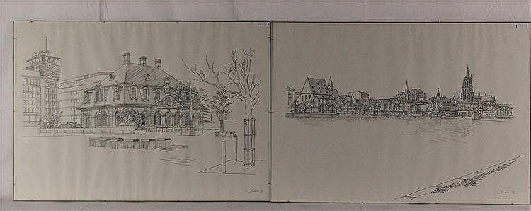 Claus, Wolfgang (*1933 Berlin) - Zwei Frankfurt/M-Ansichten: ''Hauptwache'' und ''Mainufer mit dem Blick auf den Dom und den Eiserner Steg'', Vorlagen für die Serie ''Frankfurter Grafik-Drucke'', Tuschfeder auf Papier, 1976 datiert, handsigniert mit