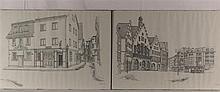 Claus, Wolfgang (*1933 Berlin) - Zwei Frankfurt/M-Ansichten: ''Altes Rathaus, Römerplatz'' und ''Klappergasse, Alt-Sachsenhausen'', Vorlagen für die Serie ''Frankfurter Grafik-Drucke'', Tuschfeder auf Papier, 1976 datiert, handsigniert mit
