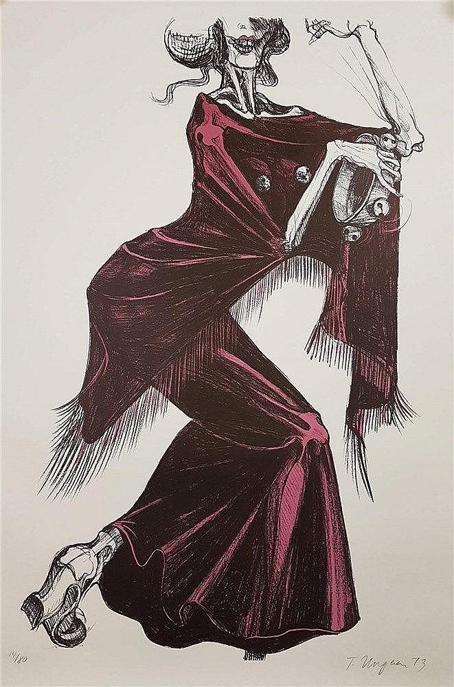Ungerer,Tomi (*1931 Straßburg) - ''La Mort en Espagnol'', ca.118x89cm,Offset-Lithografie, handsigniert und 1973 datiert,num.14/80, Blatt liegt lose,lt.Knickspuren an Rand