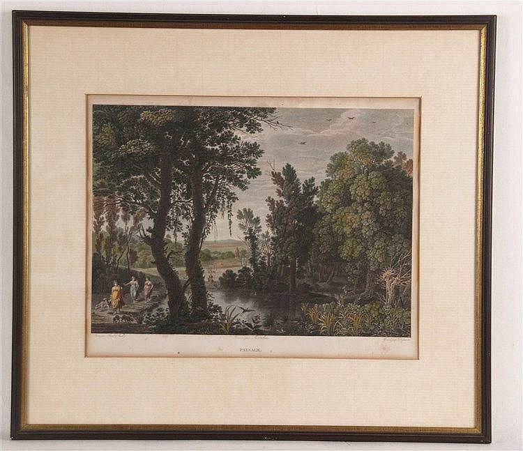 Duparc - ''Paysage'',kolorierter Kupferstich nach Paul Bril für ''Le Musée Royal'',Hrsg.Didot,1818,partiell stockflächig,im PP unter Glas gerahmt,PP-Ausschnitt:ca.28,5x37cm