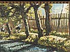 Unbekannt - Sonnenbeschienener Dorfbach mit Schwänen,auf dem Uferweg bäuerliche Staffagefiguren mit Handkarren,Öl auf Malkarton,rechts unten unleserlich signiert und datiert,ca.29x37cm,schwarze klasssische Rahmenleiste
