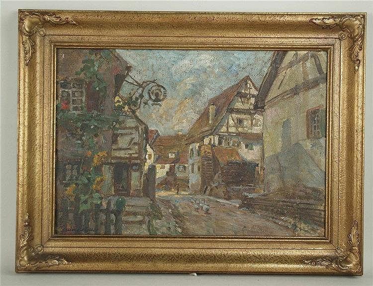 Hüther,Julius (1881 Bad Cannstatt - 1954 München) - Altstadtgasse mit Fachwerkbauten,Öl auf Leinwand,links unten signiert,ca.36x52cm,verzierter Rahmen