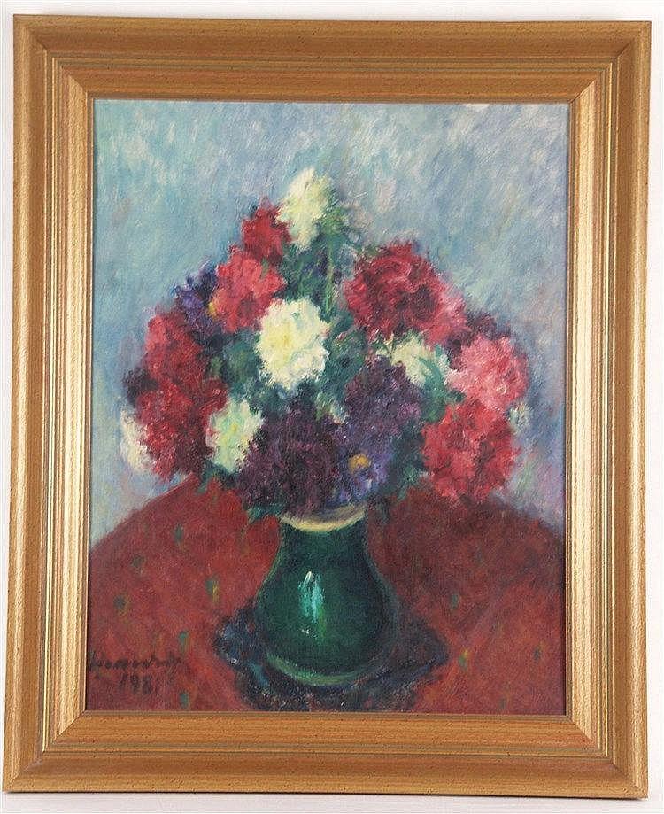 Hrandt Avachian (Syrischer Künstler 1900-1990) - Buntes Blumenstilleben in grüner Keramikvase,Öl auf Leinwand auf Karton,links unten signiert und datiert [19]81,ca.60x47cm,mit Rahmung