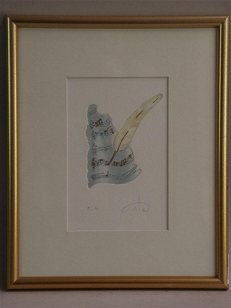 Plaut,Amos(*1940 Tel Aviv)- ''Notenfelder'', Radierung,num. ''ea'',ca.18x12cm,in PP unter Glas gerahmt
